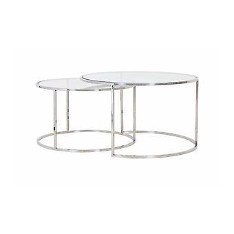طاولة القهوة الخفيفة والمعيشة مجموعة من 2 65x39 و 75x44cm دوارتي النيكل والزجاج