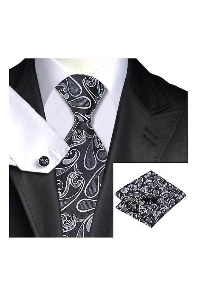 JSS Mens Black, White & Silver Paisley Pocket Square, Cufflink And Tie Set