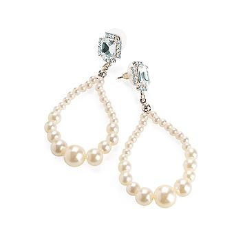 Silver Colour Crystal Cream Pearl Effect Teardrop Earrings 8cm
