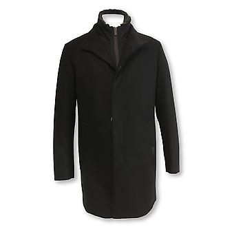 Armani Collezioni wool overcoat in black with detachable gilet layer