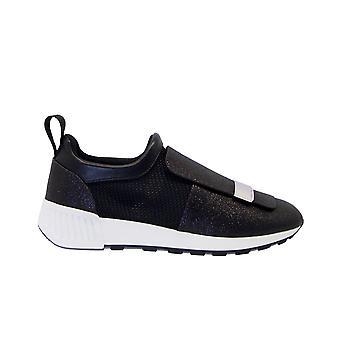 Sergio Rossi A80840mfn3021000 Dames's Black Glitter Sneakers