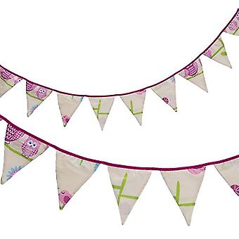 Ready Steady Bed� Fabric Bunting Flags Banner | Printed Polycotton Party and Bedroom Decoration for Kids | Birthday Bunting for Girls or Boys | 3 Metres (Owls)