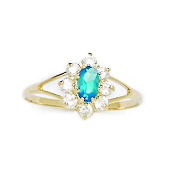 14k Yellow Gold Light Blue CZ Cubic Zirconia Simulated Diamond Size 5.5 Oval Flower for boys or girls Ring