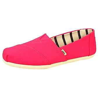 Toms women's neon pink classic vivid canvas shoes