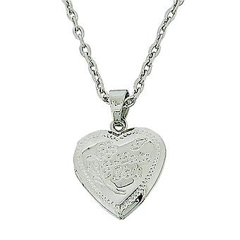 The Olivia Collection Silvertone Engraved Heart Locket Pendant + 18