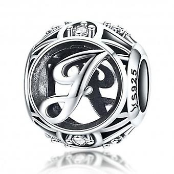 Sterling Silver Alphabet Charm With Zirconia Stones Letter J - 5775