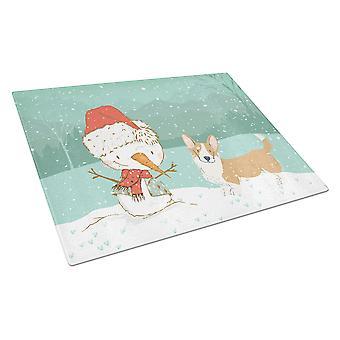 Cardigan Corgi Lumiukko joululasi leikkuulauta suuri