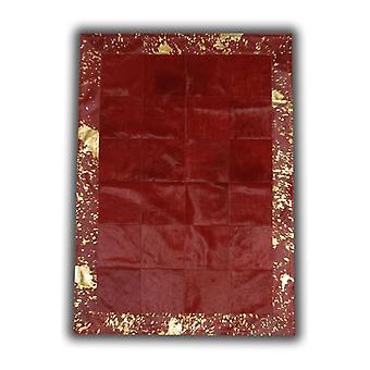 Mattor - Patchwork läder kubik kohud - röd med syra röd kant