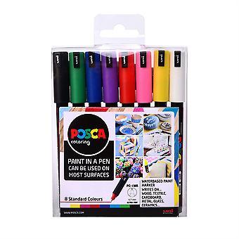 Uni Posca Markers PC-1MR Ultra Fine 8pc Set of Standard Colours