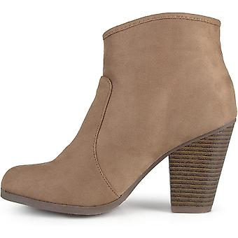 Journee Collection Women's High Heel Faux Suede Ankle Boots Taupe, 7.5 Wide W...