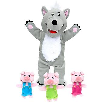 Fiesta Crafts Big Bad Wolf & the Three Little Pigs Hand & Finger Puppet Set