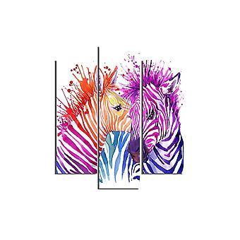 Zebra 558 Mehrfarbige Malerei in MDF, L19xP0.3xA50 cm (2 Stück), L19xP0.3xA60 cm (1 Stück)