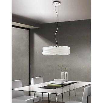 Mediterraneo Pendant Lamp 3 Bulbs E27 Large, Polished Chrome / Frosted White Glass