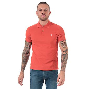 Mannen's Timberland Millers River Jacquard Polo Shirt in Pink