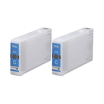 RudyTwos 2x Replacement for Epson 79XL(TowerofPisa) Ink Unit Cyan Compatible with WorkForce Pro WF-4630DWF, WF-4640DTWF, WF-5110DW, WF-5190DW, WF-5620DWF, WF-5690DWF