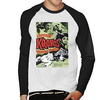 ハンマーホラー映画キャプテンクロノスクラシックポスターメン&アポ;s野球ロングスリーブTシャツ