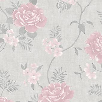 Rosalind Floral Wallpaper Pink Muriva 173504