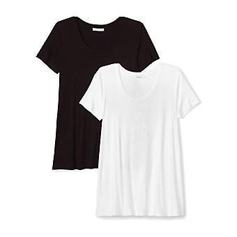 Marque - Daily Ritual Women's Jersey Short-Sleeve Scoop Neck Swing T-Shirt, Noir/Blanc, Petit