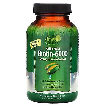 Irwin Naturals, Biotin-6000 with Bamboo Extract, 60 Liquid Soft-Gels