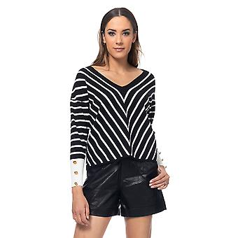 Knited stripes pullover with V neck and  gold buttons in the cuffs