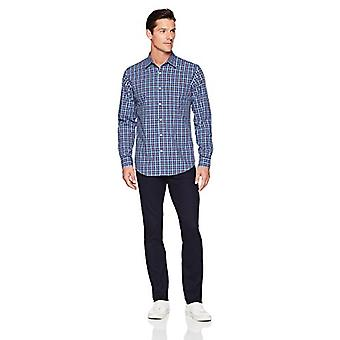Essentials Men's Regular-Fit Long-Sleeve Casual Poplin Shirt, navy pla...