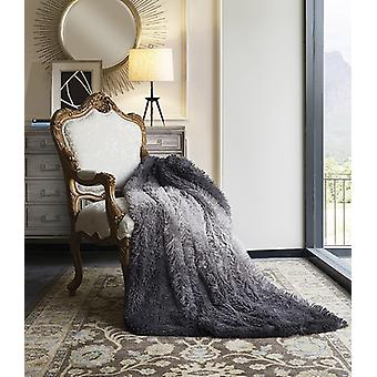 Micro Suede Backing Ombre Faux Fur Luxury Plush Polyester Throw 50x60