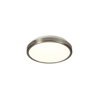 Luminosa Belysning - Flush Loft, 1 x 12W LED, 4000K, 565lm, IP44, Satin Nikkel, Hvid