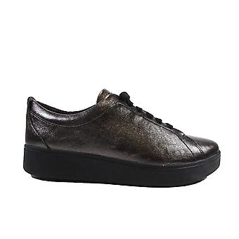 Fitflop Rally Crinkle Black Leather Donna Pizzo Up Sneaker Trainers