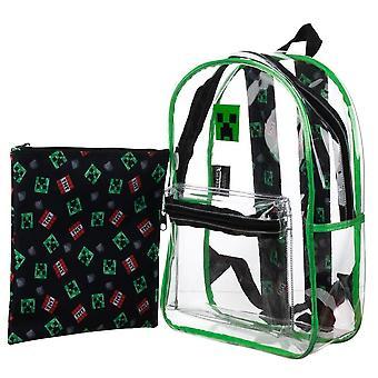 2-Pack Minecraft Ryggsäck Skolväska Genomskinligt Med Tablet Väska