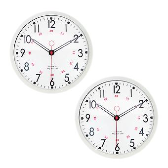 Retro Metal Kitchen Wall Clocks - 12in - Cream - Pack of 2