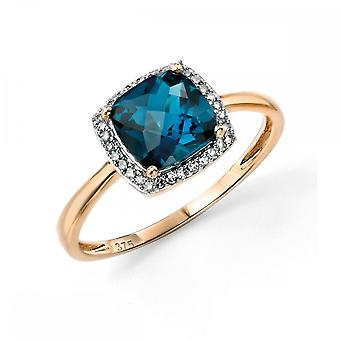 عناصر الذهب عناصر 9ct الذهب الأصفر لندن الأزرق توباز حلقة الداما مع الماس تحيط GR453T