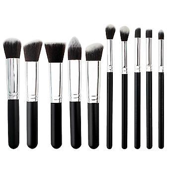 TRIXES 10PC Makeup Brush Set Kabuki Brush Gift Idea for Women Black
