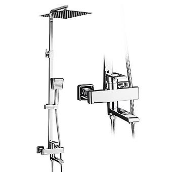 Bathroom Rainfall Shower Faucet Set- Single Handle Mixer Tap With Hand Sprayer