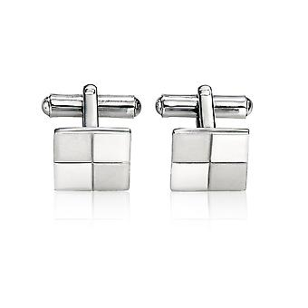 Fred Bennett Stainless Steel Mens V319 Stainless Steel Brushed and Polished Cufflinks of Length