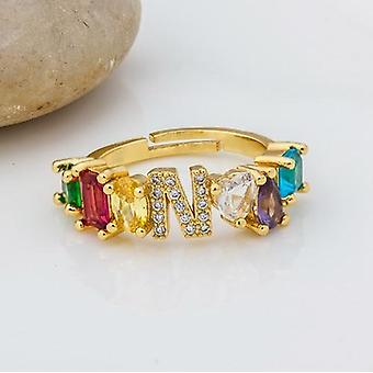 Verstelbare A-z Initial Ring Bohemian Copper Zircon Rainbow Letter Rings Party