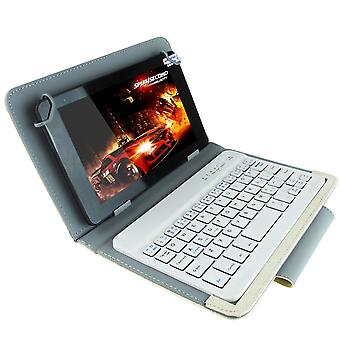 Universal Bluetooth Keyboard with Leather Case & Holder for Ainol / PiPO / Ramos 9.7 inch / 10.1 inch Tablet PC(White)