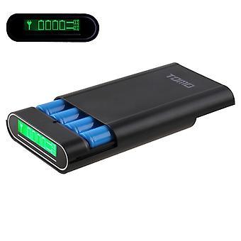 TOMO M4 DIY 4 x 18650 akkumulátorok (nem tartozék) Power Bank Shell Box kijelzővel és kijelzővel 2 USB kimenet, CE-EMC / ROHS tanúsítvánnyal, iPad, iPhone, Galaxy, H