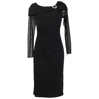 Michaela Louisa Black Cocktail Dress With Long Sheer Sleeves & Diamante Embellishment