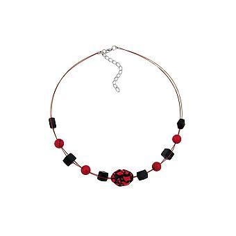 Halskæde røde og sorte perler på belagt fleksibel ledning