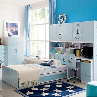 enkel oppbevaringskombinasjon under sengen med garderobe barneseng