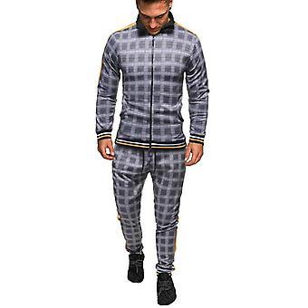 Forår Efterår Fashion Plaid træningsdragt Casual 2 stykker sæt, Jakke + bukser Suit