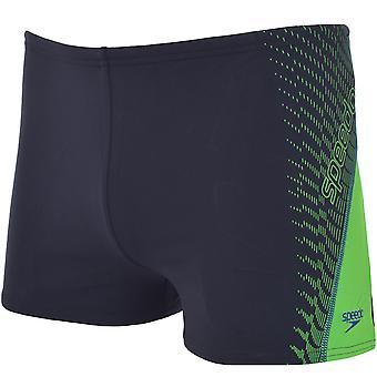 Speedo Boys Logo Graphic Splash Endurance+ Swimming Swim Shorts Aquashorts Black