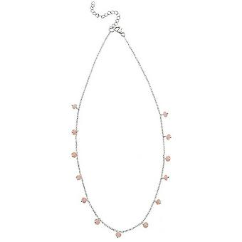 Beginnings Quartz Bead Necklace - Silver/Pink