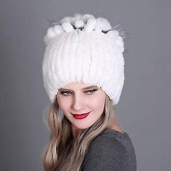 Women Fur Hat For Winter Natural Rex Rabbit Fox Fur Cap