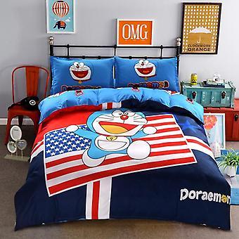 جميل الكرتون لحاف غطاء مجموعات، البوليستر الناعمة، سرير الكتان شقة، مجموعة صف السرير