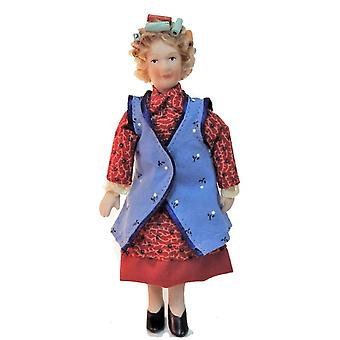 Dolls House 1960's Housewife In Curlers Porcelain 1:12 People Woman