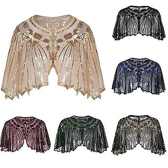 Vintage Flapper Șal Sequin mărgele scurt Cape Beaded Decorare Gatsby Party