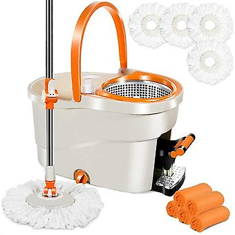 Spin Mop with Foot Pedal Bucket 6L Mops and Bucket Set with 4 PCS Microfiber Mop