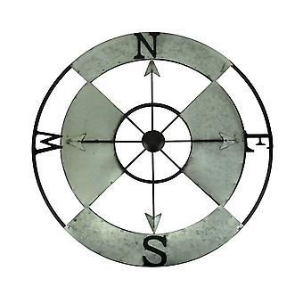 24 Inch Diameter Galvanized Metal Compass Rose Wall Hanging