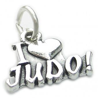 I Love Judo Sterling Silver Charm .925 X 1 Martial Arts Charms - 3788